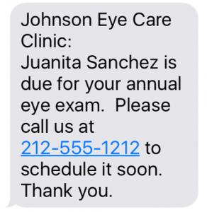Annual Exam Recall Text